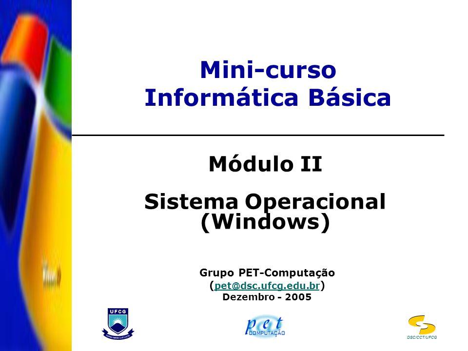 Mini-curso Informática Básica Módulo II Sistema Operacional (Windows) Grupo PET-Computação ( pet@dsc.ufcg.edu.br ) pet@dsc.ufcg.edu.br Dezembro - 2005