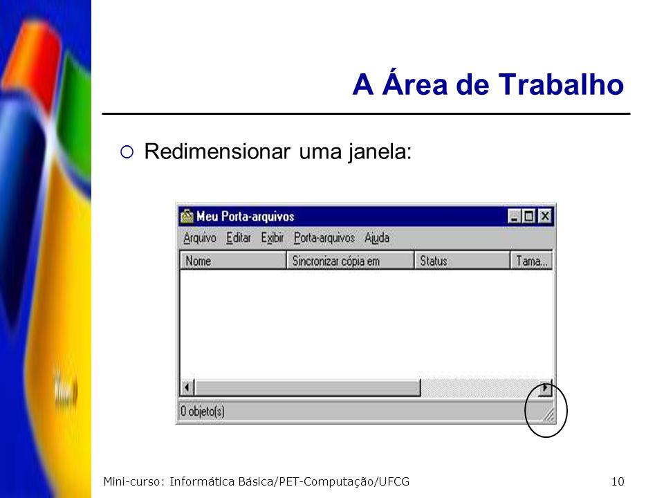Mini-curso: Informática Básica/PET-Computação/UFCG10 A Área de Trabalho Redimensionar uma janela: