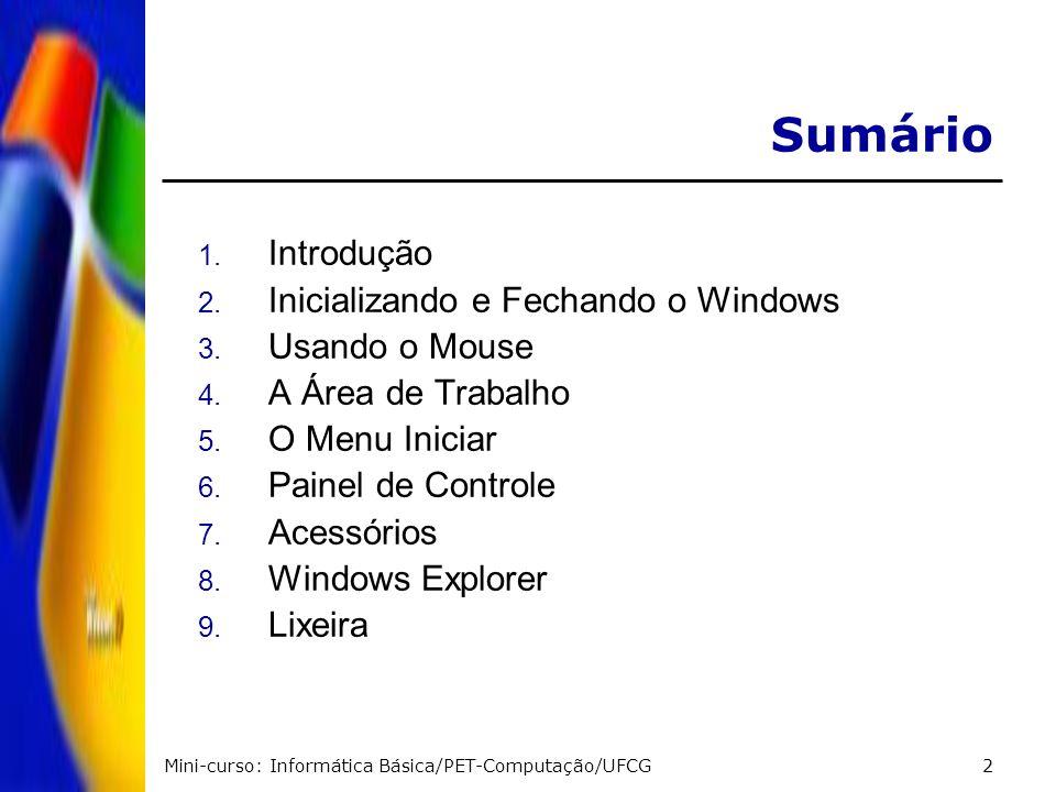Mini-curso: Informática Básica/PET-Computação/UFCG2 Sumário 1. Introdução 2. Inicializando e Fechando o Windows 3. Usando o Mouse 4. A Área de Trabalh
