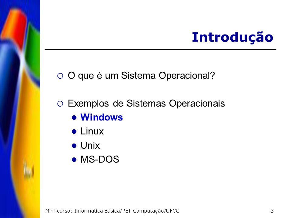 Mini-curso: Informática Básica/PET-Computação/UFCG4 Introdução - Windows Produzido pela Microsoft Milhões de usuários em todo o mundo Metáfora sobre mesa de trabalho Interface possibilita fácil utilização Multitarefa