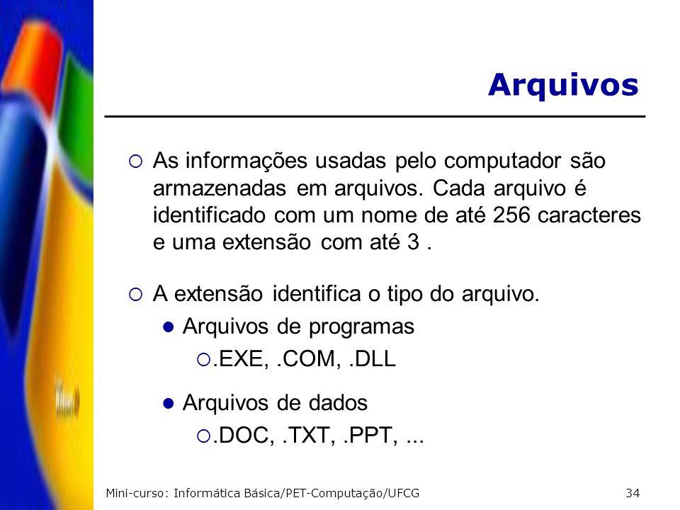 Mini-curso: Informática Básica/PET-Computação/UFCG34 As informações usadas pelo computador são armazenadas em arquivos. Cada arquivo é identificado co