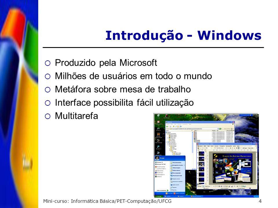 Mini-curso: Informática Básica/PET-Computação/UFCG4 Introdução - Windows Produzido pela Microsoft Milhões de usuários em todo o mundo Metáfora sobre m