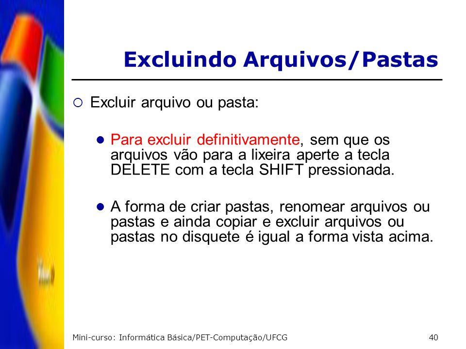 Mini-curso: Informática Básica/PET-Computação/UFCG40 Excluir arquivo ou pasta: Para excluir definitivamente, sem que os arquivos vão para a lixeira ap