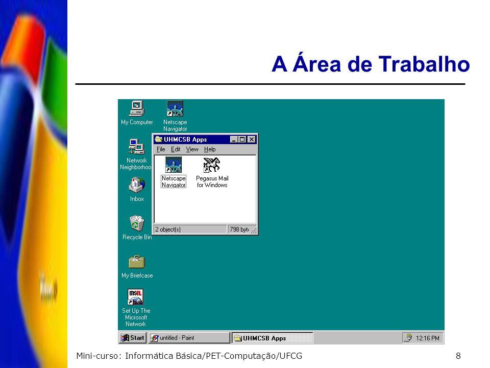 Mini-curso: Informática Básica/PET-Computação/UFCG39 Excluir arquivo ou pasta: Seleciona o arquivo ou pasta > aperta a tecla DELETE Se o arquivo deletado for uma pasta todo o seu conteúdo será apagado.