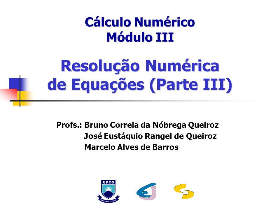 Resolução Numérica de Equações (Parte III) Cálculo Numérico Módulo III Profs.: Bruno Correia da Nóbrega Queiroz José Eustáquio Rangel de Queiroz Marce