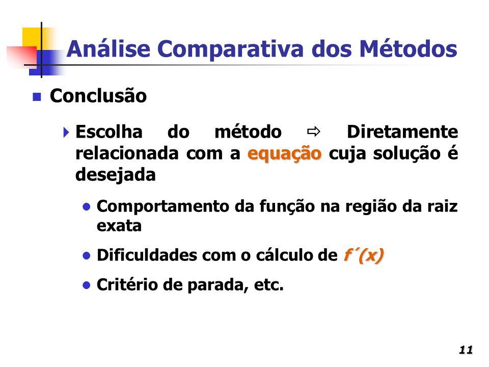 11 Análise Comparativa dos Métodos equação Escolha do método Diretamente relacionada com a equação cuja solução é desejada Comportamento da função na