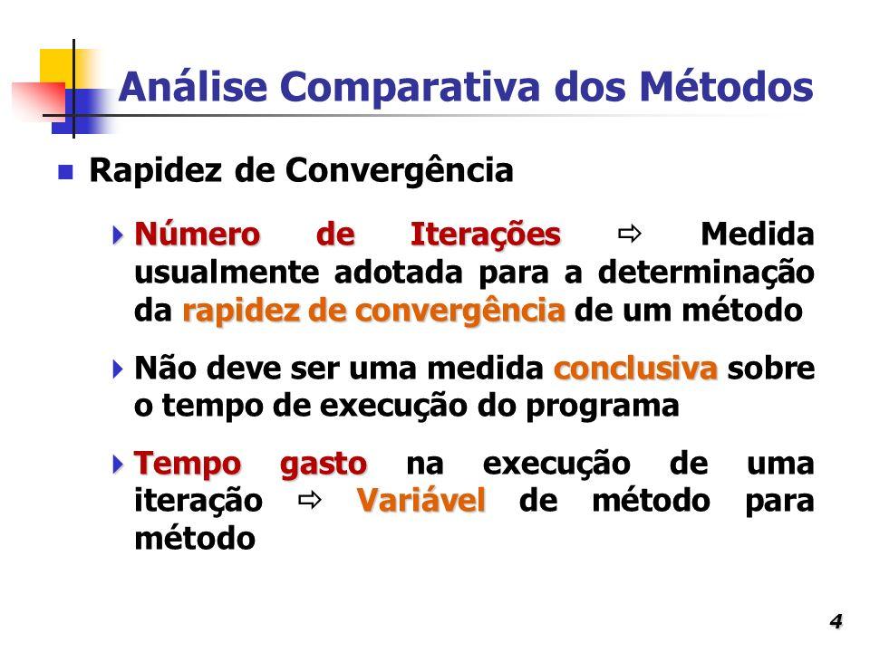 4 Análise Comparativa dos Métodos Número de Iterações rapidez de convergência Número de Iterações Medida usualmente adotada para a determinação da rap