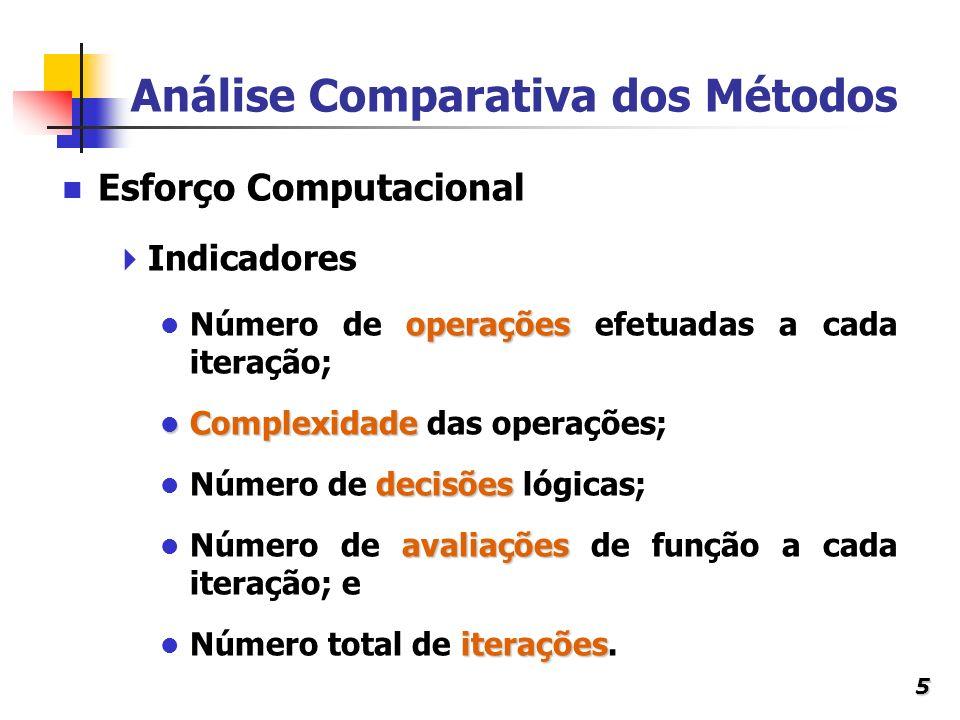 5 Análise Comparativa dos Métodos Indicadores operações Número de operações efetuadas a cada iteração; Complexidade Complexidade das operações; decisõ