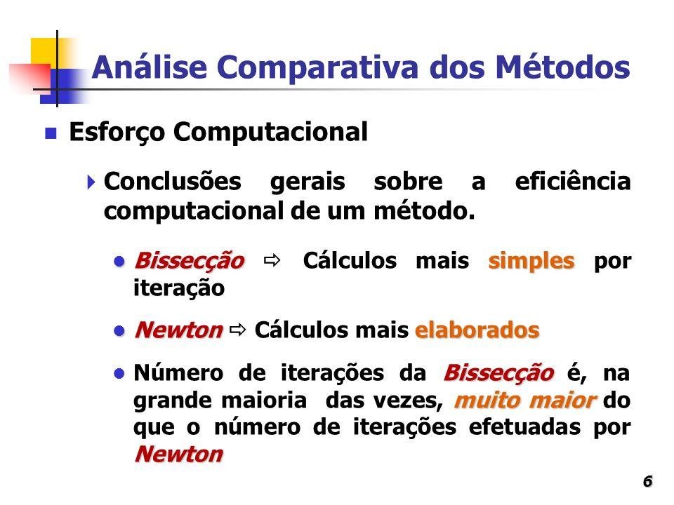 6 Análise Comparativa dos Métodos Conclusões gerais sobre a eficiência computacional de um método. Bissecçãosimples Bissecção Cálculos mais simples po