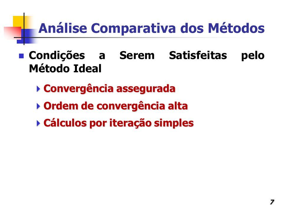7 Análise Comparativa dos Métodos Convergência assegurada Convergência assegurada Ordem de convergência alta Ordem de convergência alta Cálculos por i