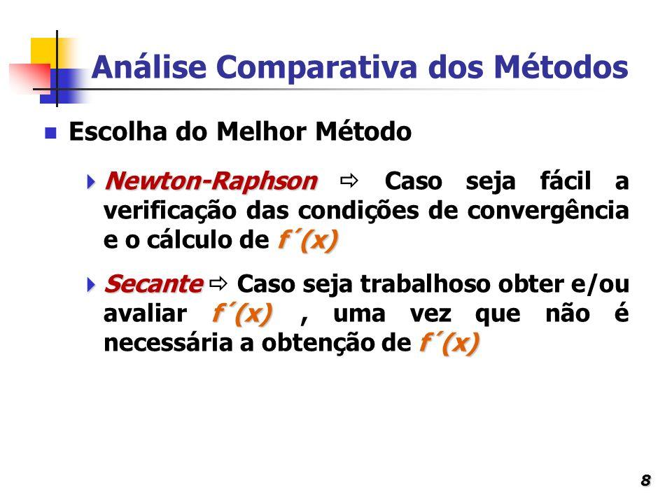 8 Análise Comparativa dos Métodos Newton-Raphson f´(x) Newton-Raphson Caso seja fácil a verificação das condições de convergência e o cálculo de f´(x)