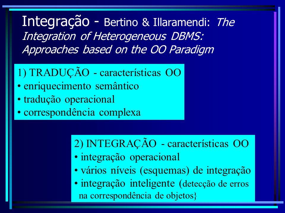 Integração - Bertino & Illaramendi: The Integration of Heterogeneous DBMS: Approaches based on the OO Paradigm 1) TRADUÇÃO - características OO enriqu