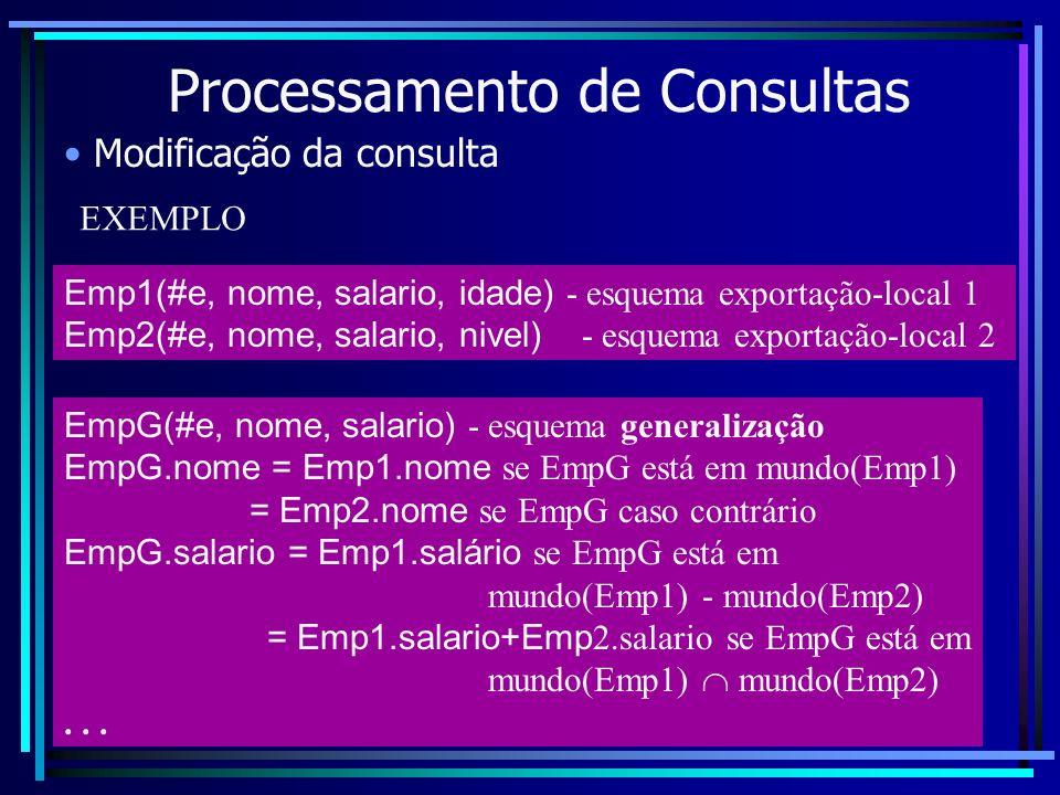 Processamento de Consultas Modificação da consulta Emp1(#e, nome, salario, idade) - esquema exportação-local 1 Emp2(#e, nome, salario, nivel) - esquem
