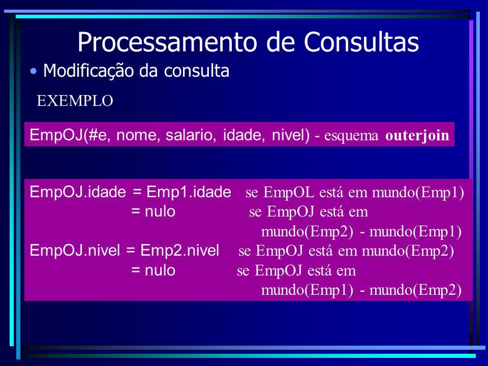 Processamento de Consultas Modificação da consulta EmpOJ(#e, nome, salario, idade, nivel) - esquema outerjoin EXEMPLO EmpOJ.idade = Emp1.idade se EmpO