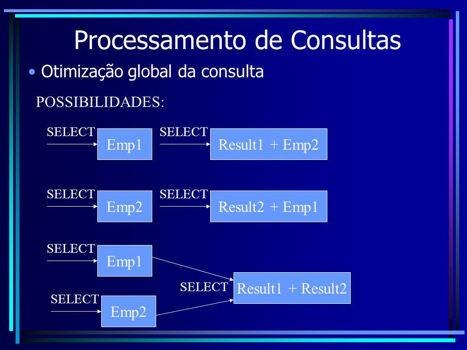 Processamento de Consultas Otimização global da consulta POSSIBILIDADES: Emp1 SELECT Result1 + Emp2 SELECT Emp2 SELECT Result2 + Emp1 SELECT Emp2 SELE