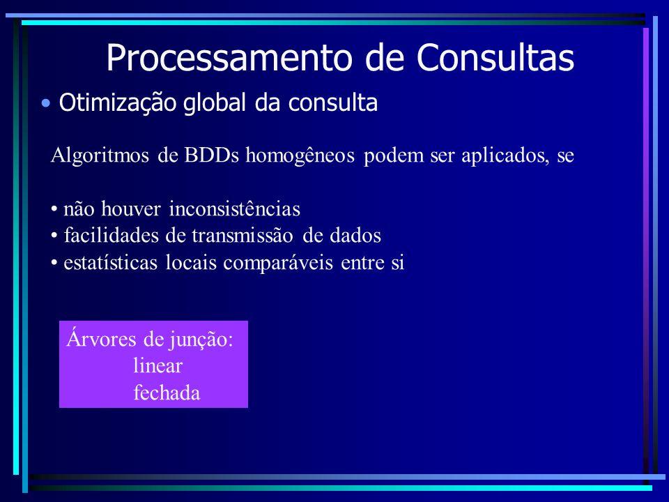 Processamento de Consultas Otimização global da consulta Algoritmos de BDDs homogêneos podem ser aplicados, se não houver inconsistências facilidades