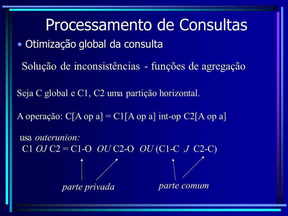 Processamento de Consultas Otimização global da consulta Solução de inconsistências - funções de agregação Seja C global e C1, C2 uma partição horizon