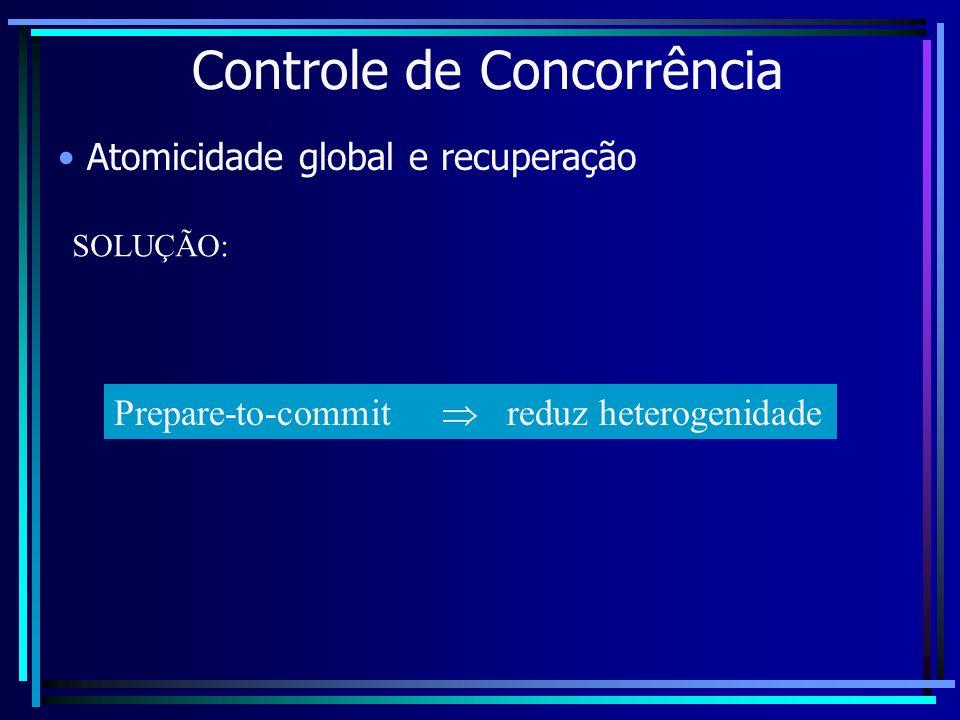 Controle de Concorrência Atomicidade global e recuperação SOLUÇÃO: Prepare-to-commit reduz heterogenidade