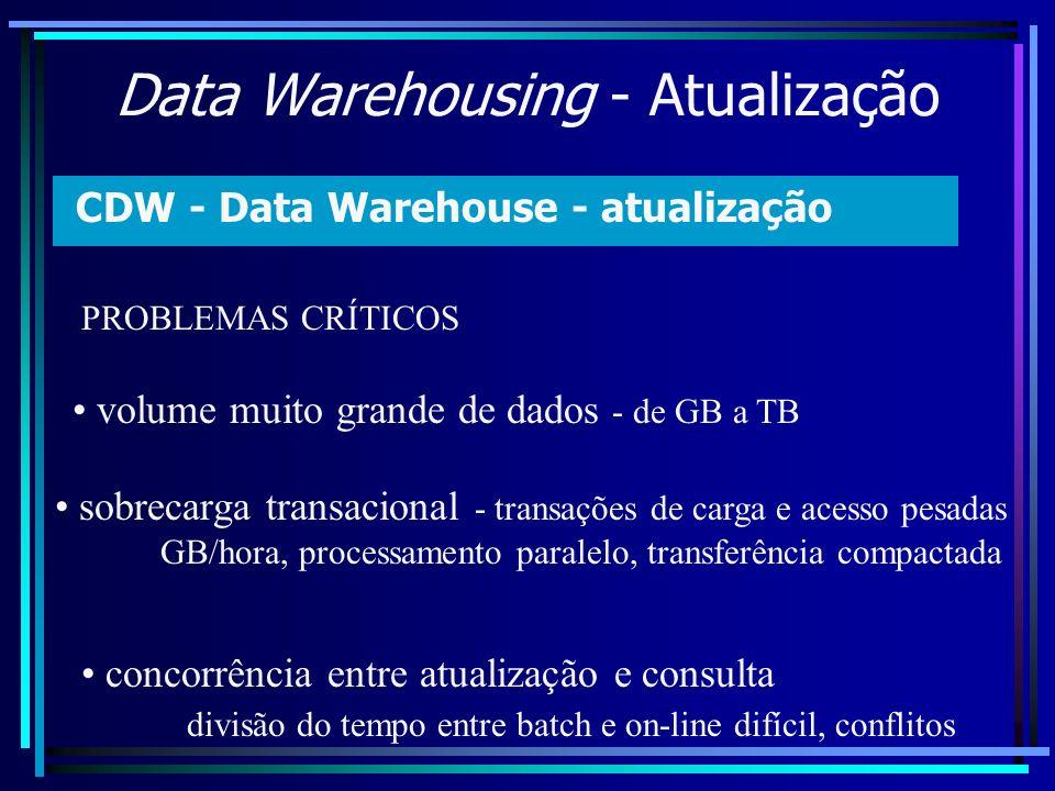 Data Warehousing - Atualização CDW - Data Warehouse - atualização volume muito grande de dados - de GB a TB sobrecarga transacional - transações de ca