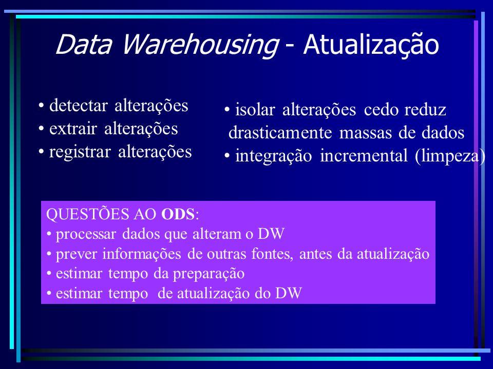 Data Warehousing - Atualização detectar alterações extrair alterações registrar alterações isolar alterações cedo reduz drasticamente massas de dados