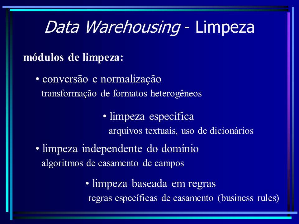 Data Warehousing - Limpeza módulos de limpeza: conversão e normalização transformação de formatos heterogêneos limpeza específica arquivos textuais, u