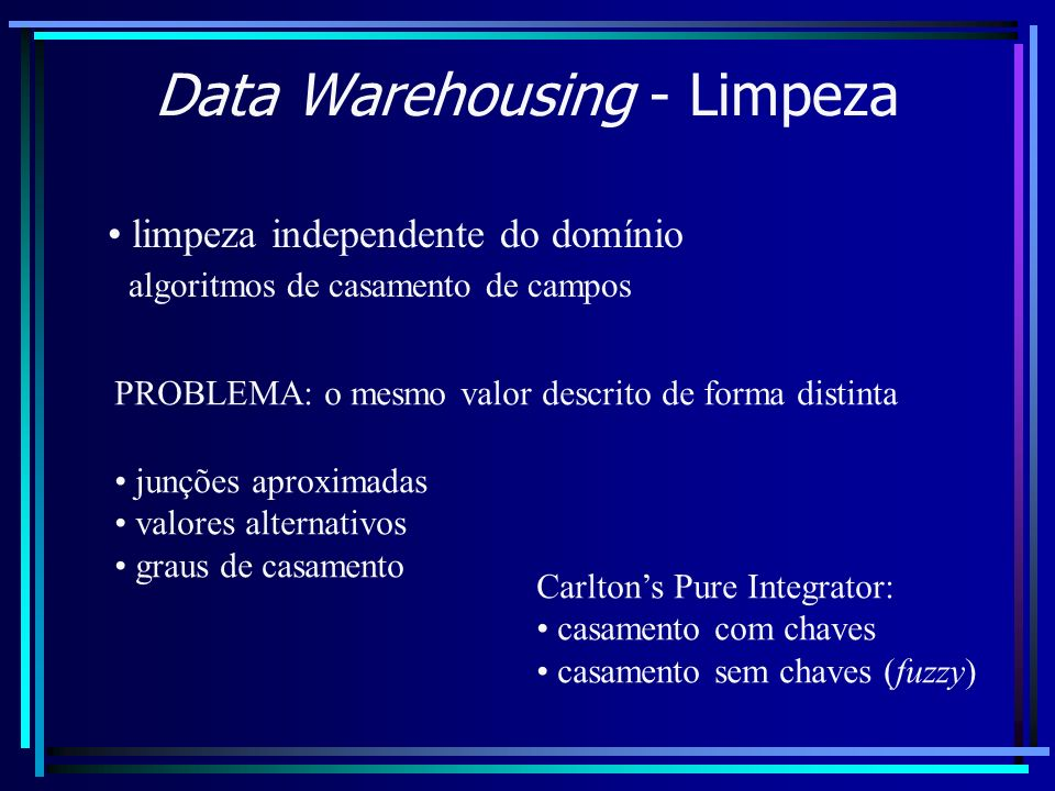 Data Warehousing - Limpeza limpeza independente do domínio algoritmos de casamento de campos PROBLEMA: o mesmo valor descrito de forma distinta junções aproximadas valores alternativos graus de casamento Carltons Pure Integrator: casamento com chaves casamento sem chaves (fuzzy)