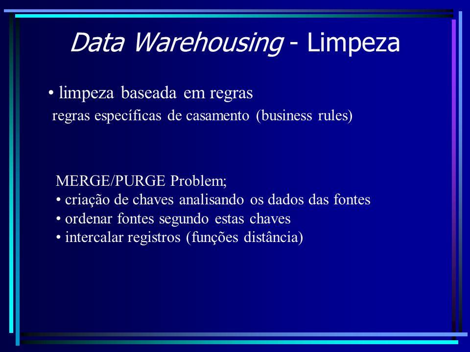 Data Warehousing - Limpeza limpeza baseada em regras regras específicas de casamento (business rules) MERGE/PURGE Problem; criação de chaves analisand