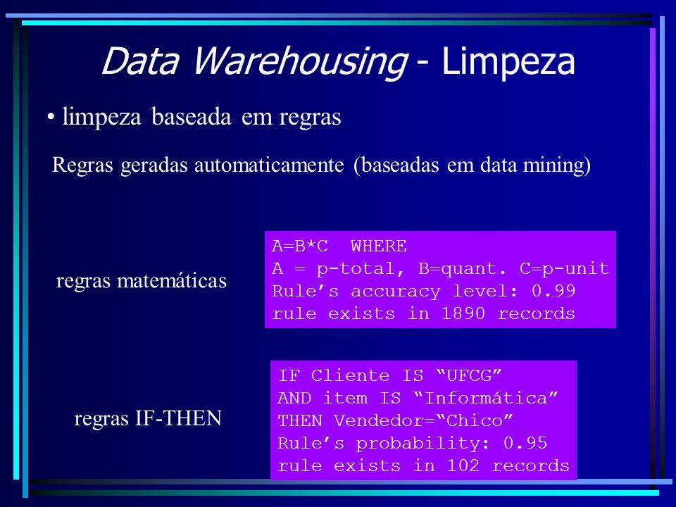 Data Warehousing - Limpeza limpeza baseada em regras Regras geradas automaticamente (baseadas em data mining) A=B*C WHERE A = p-total, B=quant. C=p-un