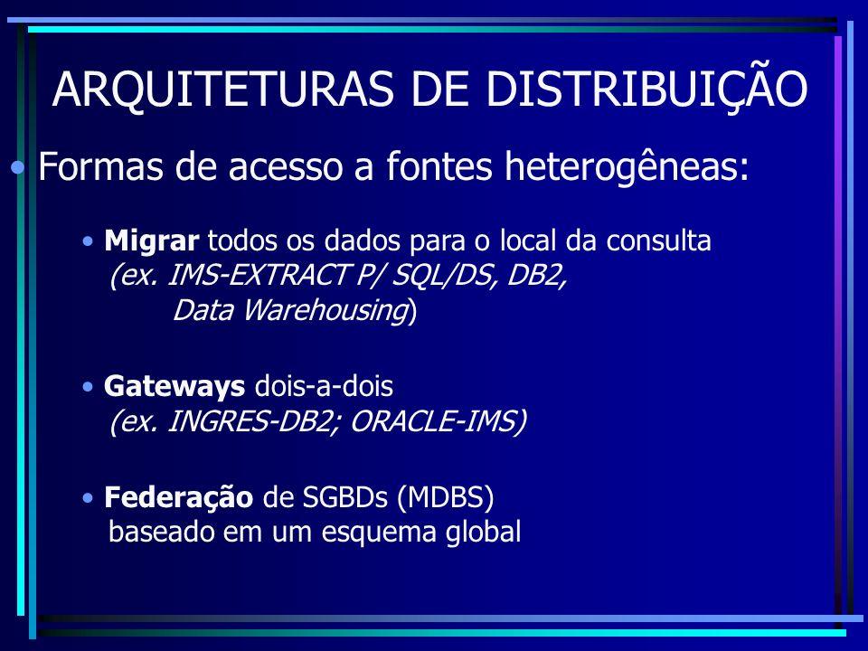 ARQUITETURAS DE DISTRIBUIÇÃO Formas de acesso a fontes heterogêneas: Migrar todos os dados para o local da consulta (ex. IMS-EXTRACT P/ SQL/DS, DB2, D