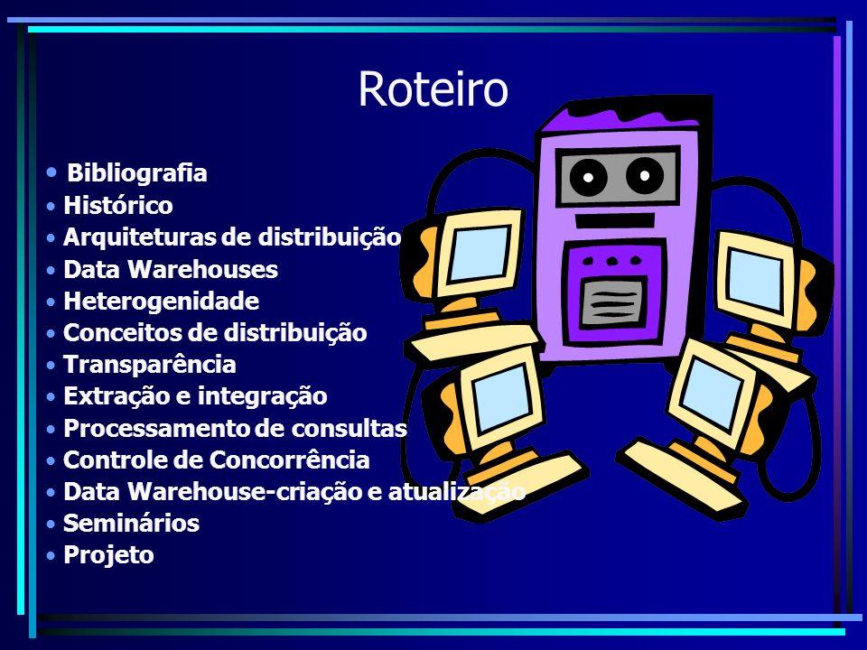 Roteiro Bibliografia Histórico Arquiteturas de distribuição Data Warehouses Heterogenidade Conceitos de distribuição Transparência Extração e integraç