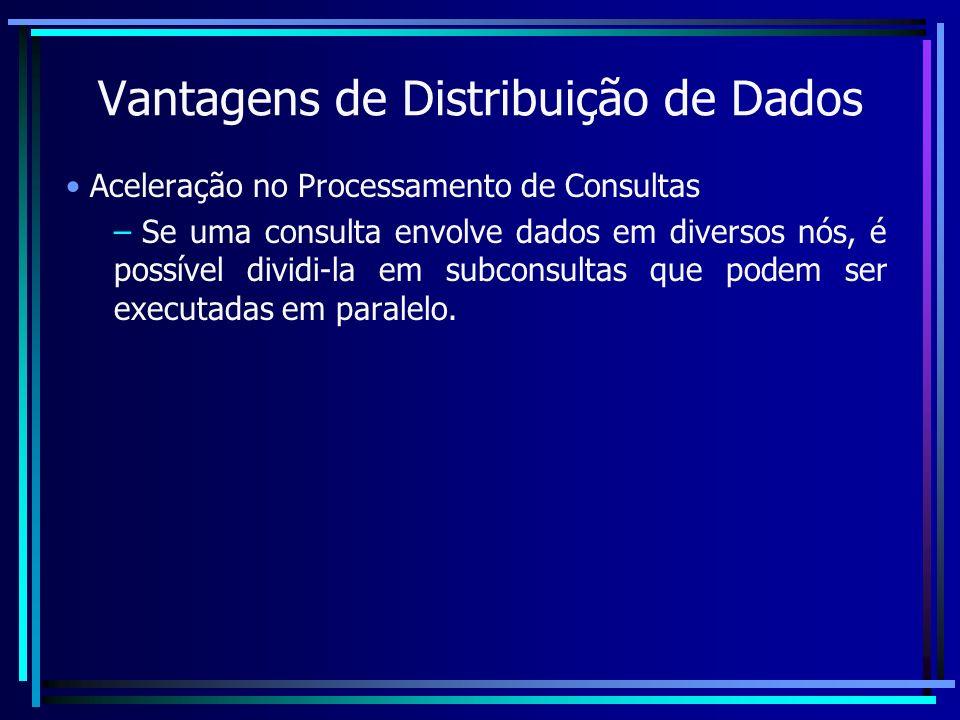 Vantagens de Distribuição de Dados Aceleração no Processamento de Consultas – Se uma consulta envolve dados em diversos nós, é possível dividi-la em s