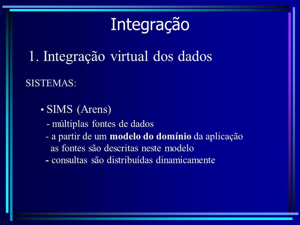 Integração 1. Integração virtual dos dados SIMS (Arens) - múltiplas fontes de dados - a partir de um modelo do domínio da aplicação as fontes são desc