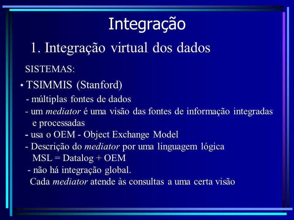 Integração 1. Integração virtual dos dados TSIMMIS (Stanford) - múltiplas fontes de dados - um mediator é uma visão das fontes de informação integrada