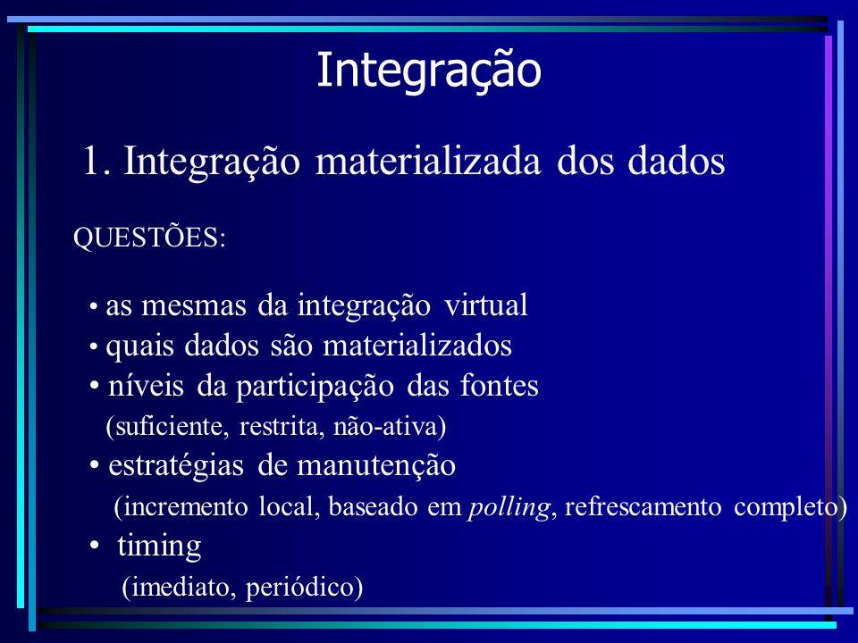 Integração 1. Integração materializada dos dados as mesmas da integração virtual quais dados são materializados níveis da participação das fontes (suf