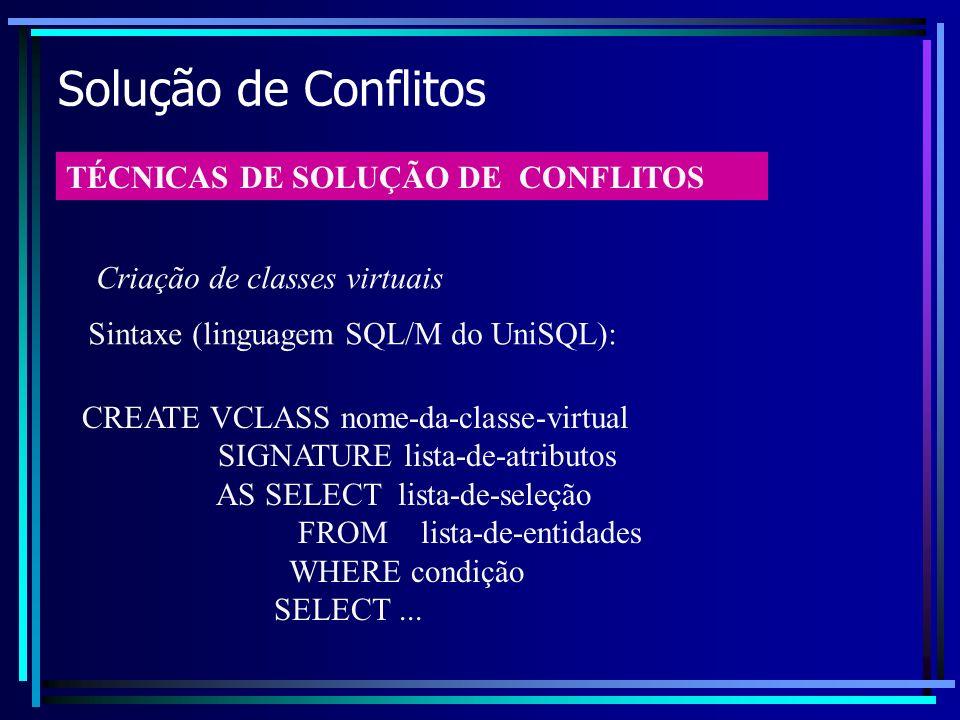 Solução de Conflitos TÉCNICAS DE SOLUÇÃO DE CONFLITOS Criação de classes virtuais CREATE VCLASS nome-da-classe-virtual SIGNATURE lista-de-atributos AS