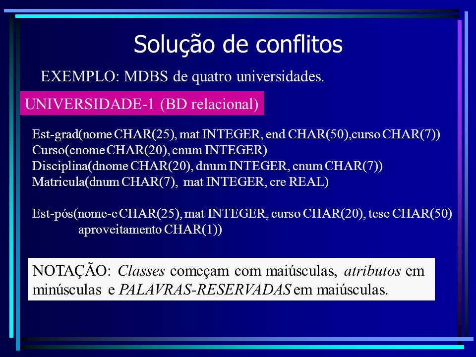 Solução de conflitos EXEMPLO: MDBS de quatro universidades. UNIVERSIDADE-1 (BD relacional) Est-grad(nome CHAR(25), mat INTEGER, end CHAR(50),curso CHA