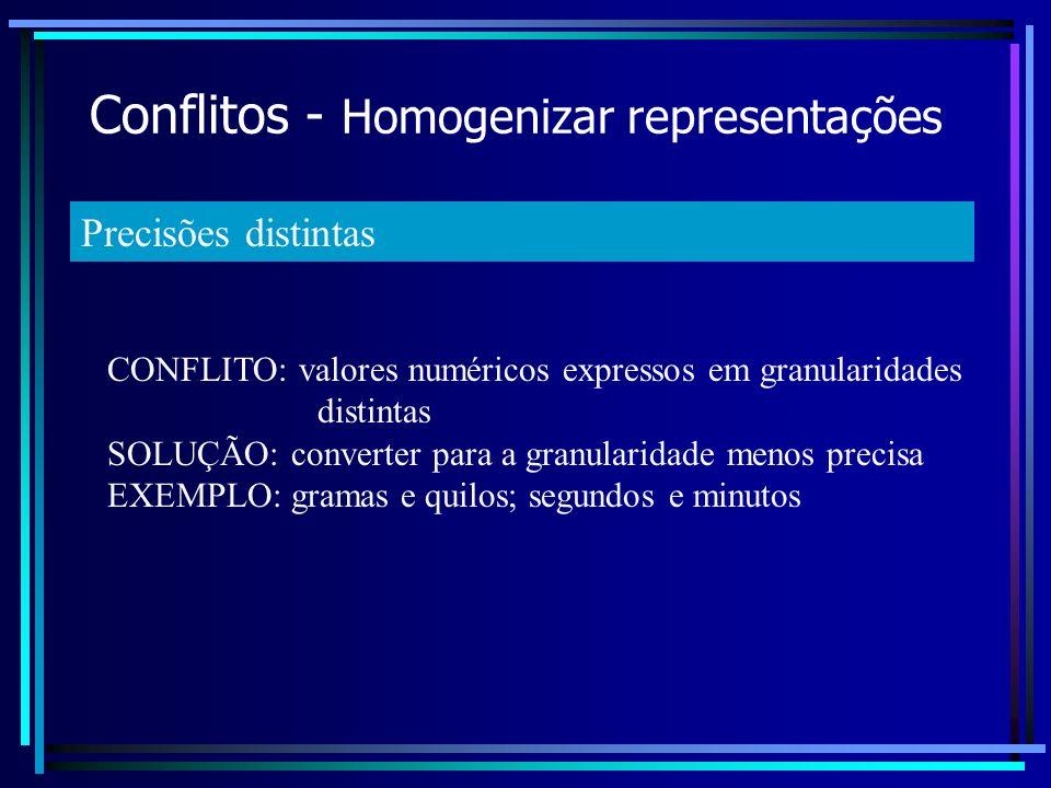 Conflitos - Homogenizar representações CONFLITO: valores numéricos expressos em granularidades distintas SOLUÇÃO: converter para a granularidade menos