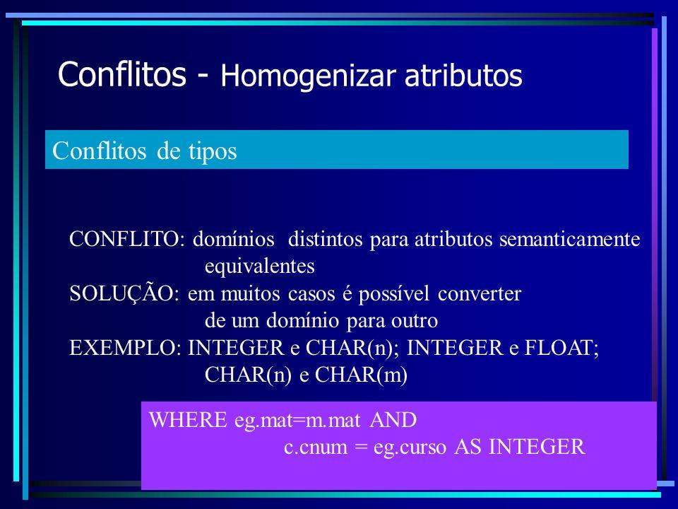 Conflitos - Homogenizar atributos CONFLITO: domínios distintos para atributos semanticamente equivalentes SOLUÇÃO: em muitos casos é possível converte
