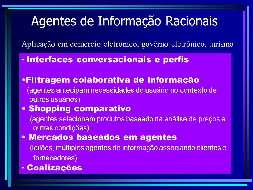 Agentes de Informação Racionais Interfaces conversacionais e perfis Filtragem colaborativa de informação (agentes antecipam necessidades do usuário no