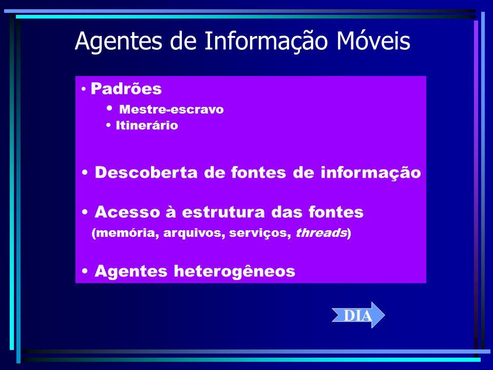 Agentes de Informação Móveis Padrões Mestre-escravo Itinerário Descoberta de fontes de informação Acesso à estrutura das fontes (memória, arquivos, se