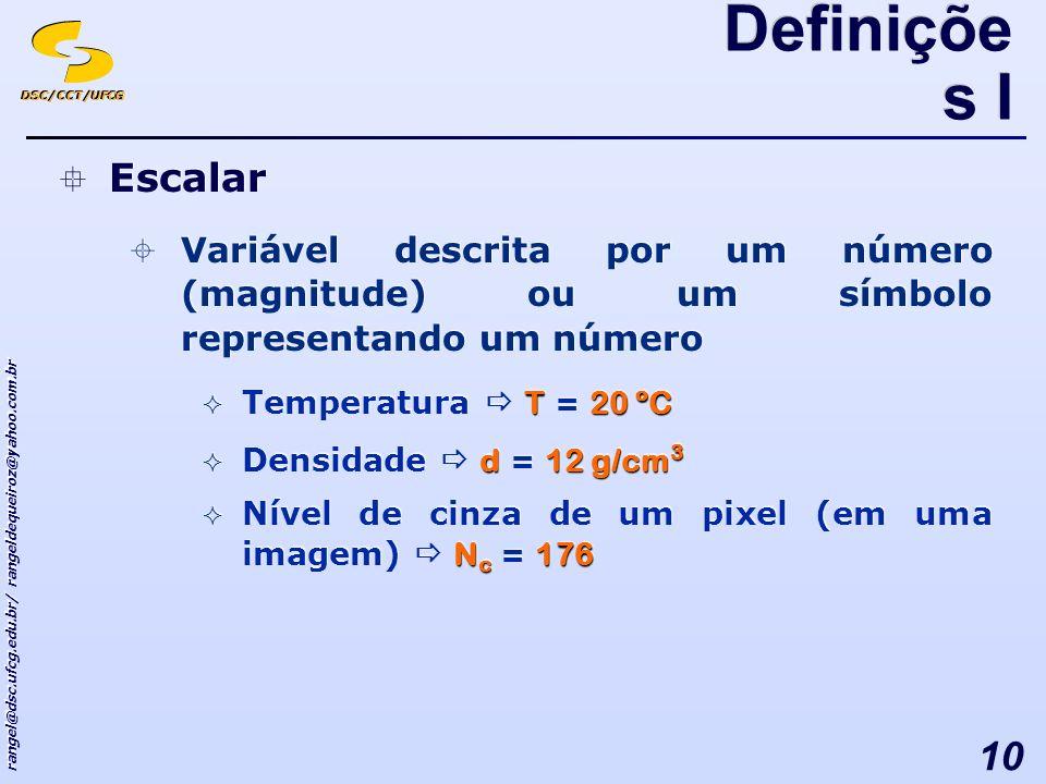 DSC/CCT/UFCG rangel@dsc.ufcg.edu.br/ rangeldequeiroz@yahoo.com.br 10 Escalar Variável descrita por um número (magnitude) ou um símbolo representando um número T20 ºC Temperatura T = 20 ºC d12 g/cm 3 Densidade d = 12 g/cm 3 N c 176 Nível de cinza de um pixel (em uma imagem) N c = 176 Escalar Variável descrita por um número (magnitude) ou um símbolo representando um número T20 ºC Temperatura T = 20 ºC d12 g/cm 3 Densidade d = 12 g/cm 3 N c 176 Nível de cinza de um pixel (em uma imagem) N c = 176 Definiçõe s I