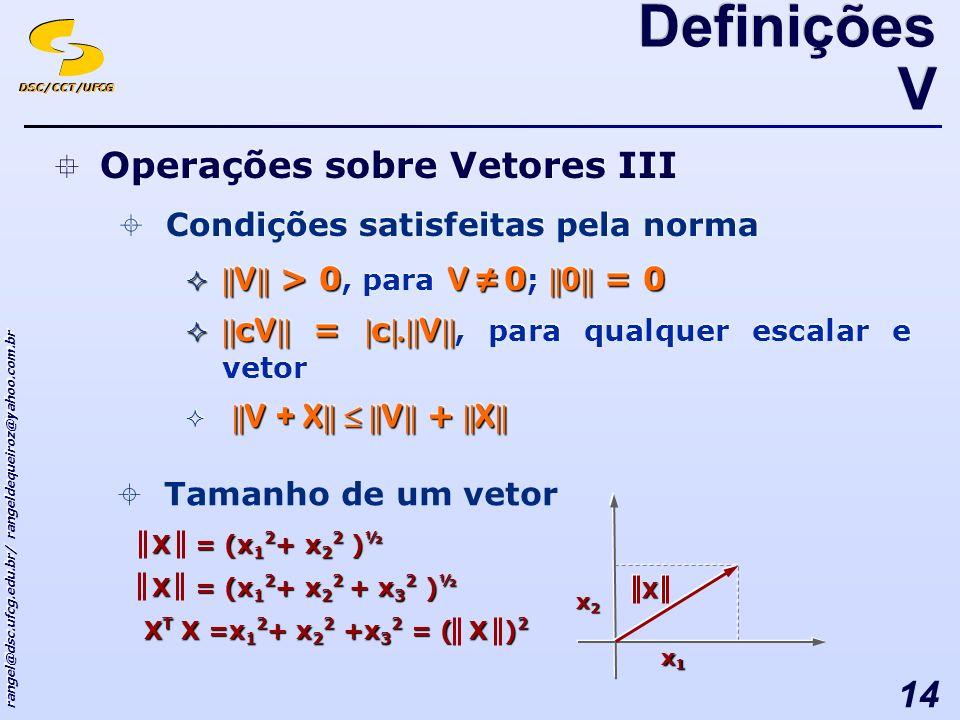 DSC/CCT/UFCG rangel@dsc.ufcg.edu.br/ rangeldequeiroz@yahoo.com.br 14 Operações sobre Vetores III Condições satisfeitas pela norma || V || > 0 V 0 || 0 || = 0 || V || > 0, para V 0 ; || 0 || = 0 || c V || = | c |.|| V || || c V || = | c |.|| V ||, para qualquer escalar e vetor || V + X || || V || + || X || Operações sobre Vetores III Condições satisfeitas pela norma || V || > 0 V 0 || 0 || = 0 || V || > 0, para V 0 ; || 0 || = 0 || c V || = | c |.|| V || || c V || = | c |.|| V ||, para qualquer escalar e vetor || V + X || || V || + || X || Tamanho de um vetor X = (x 1 2 + x 2 2 ) ½ X = (x 1 2 + x 2 2 ) ½ X = (x 1 2 + x 2 2 + x 3 2 ) ½ X = (x 1 2 + x 2 2 + x 3 2 ) ½ X T X =x 1 2 + x 2 2 +x 3 2 = ( X ) 2 x1x1x1x1 x2x2x2x2 X Definições V