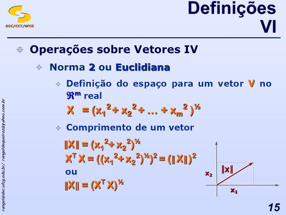 DSC/CCT/UFCG rangel@dsc.ufcg.edu.br/ rangeldequeiroz@yahoo.com.br 15 Operações sobre Vetores IV 2Euclidiana Norma 2 ou Euclidiana V m Definição do espaço para um vetor V no m real Operações sobre Vetores IV 2Euclidiana Norma 2 ou Euclidiana V m Definição do espaço para um vetor V no m real Comprimento de um vetor Definições VI X = (x 1 2 + x 2 2 + … + x m 2 ) ½ X = (x 1 2 + x 2 2 + … + x m 2 ) ½ x1x1x1x1 x2x2x2x2 X X = (x 1 2 + x 2 2 ) ½ X = (x 1 2 + x 2 2 ) ½ X T X = ((x 1 2 + x 2 2 ) ½ ) 2 = ( X ) 2 ou X = (X T X) ½ X = (X T X) ½