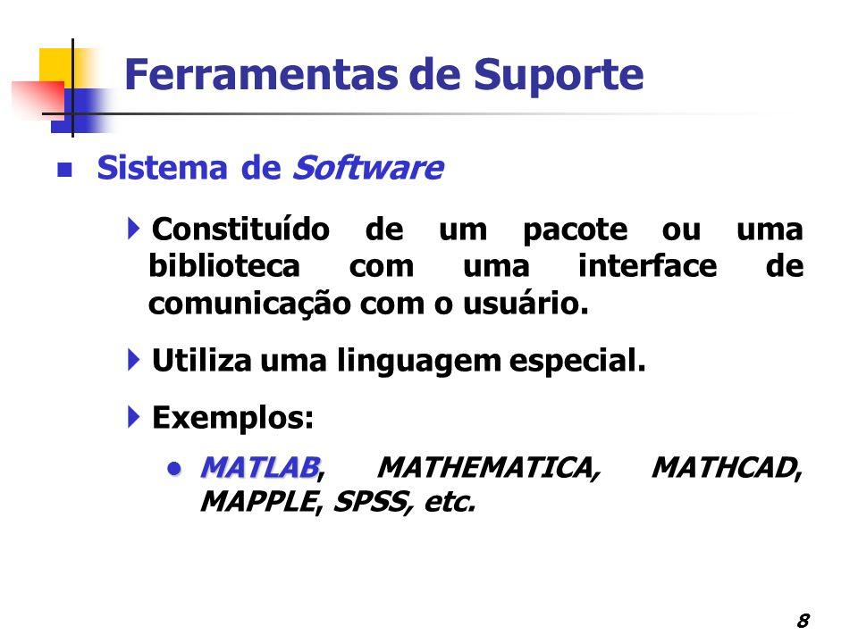 9 Ferramentas de Suporte MATHCAD MATHCAD I Padrão industrial para cálculos técnicos e matemática aplicada Ambiente de trabalho baseado em álgebra computacional Avaliação numérica e simbólica de expressões matemáticas; Geração de gráficos e construção de algoritmos;