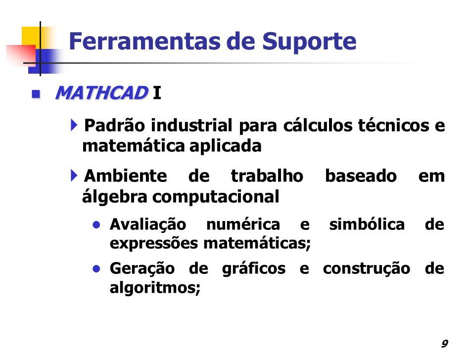 10 Ferramentas de Suporte MATHCAD MATHCAD II Ambiente de trabalho baseado em álgebra computacional Avaliação de integrais e derivadas de funções; Resolução de sistemas lineares, etc.