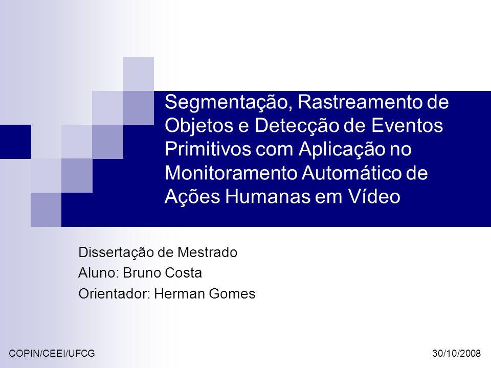 Experimentos Detecção de Movimento MétricasW4 (%) GMM (%) Detecção Correta90,5194,72 Falha de Detecção3,501,84 Região Dividida1,090,72 Região Conjunta1,431,36 Região Conjunta e Dividida 3.471,36 Detecção Total96,5098,16 Ruído39,2211,13 MétricasW4 (%) GMM (%) Detecção Correta63,1060,00 Falha de Detecção6,6510,91 Região Dividida0,80,01 Região Conjunta25,5928,36 Região Conjunta e Dividida 3,860,11 Detecção Total93,3589,09 Ruído61,7438,78 PETS 2004 - Indoor PETS 2001 - outdoor 30/10/2008 42 © Bruno Alexandre Dias da Costa CD de trabalhos relacionados variam entre 80 e 90%