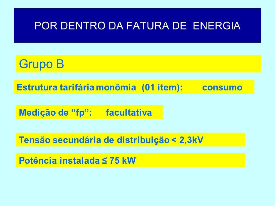 POR DENTRO DA FATURA DE ENERGIA Grupo B Estrutura tarifária monômia (01 item): Medição de fp:facultativa consumo Tensão secundária de distribuição < 2