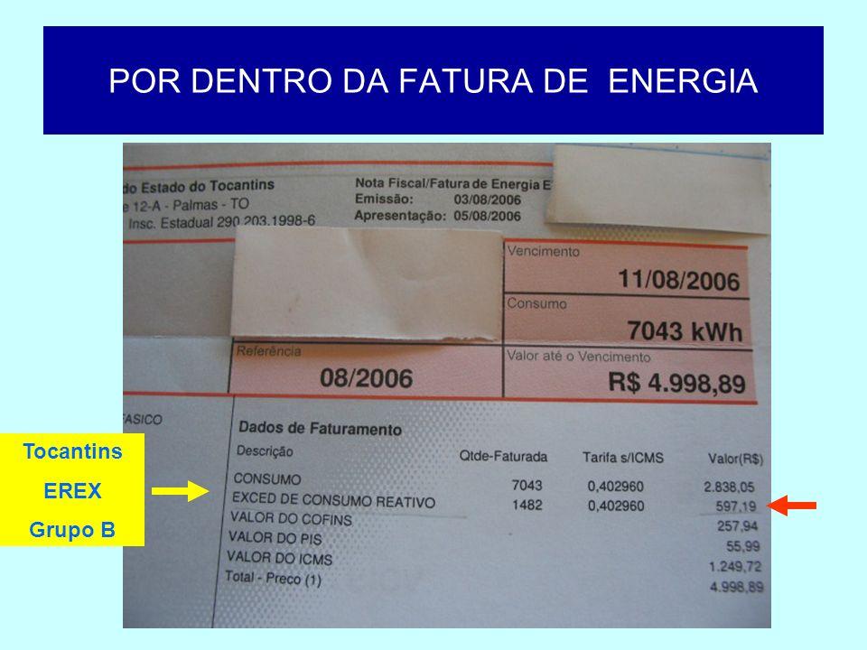 POR DENTRO DA FATURA DE ENERGIA Tocantins Medição de FP s/ cobrança