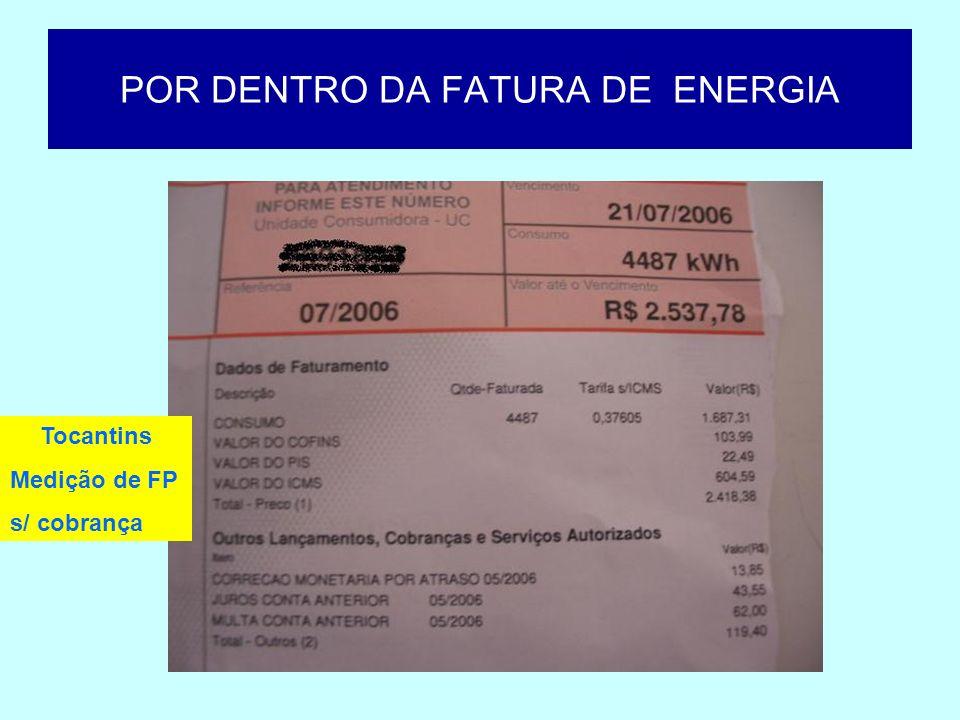POR DENTRO DA FATURA DE ENERGIA Tocantins Medição de FP s/ cobrança de EREX Tempo de adequação