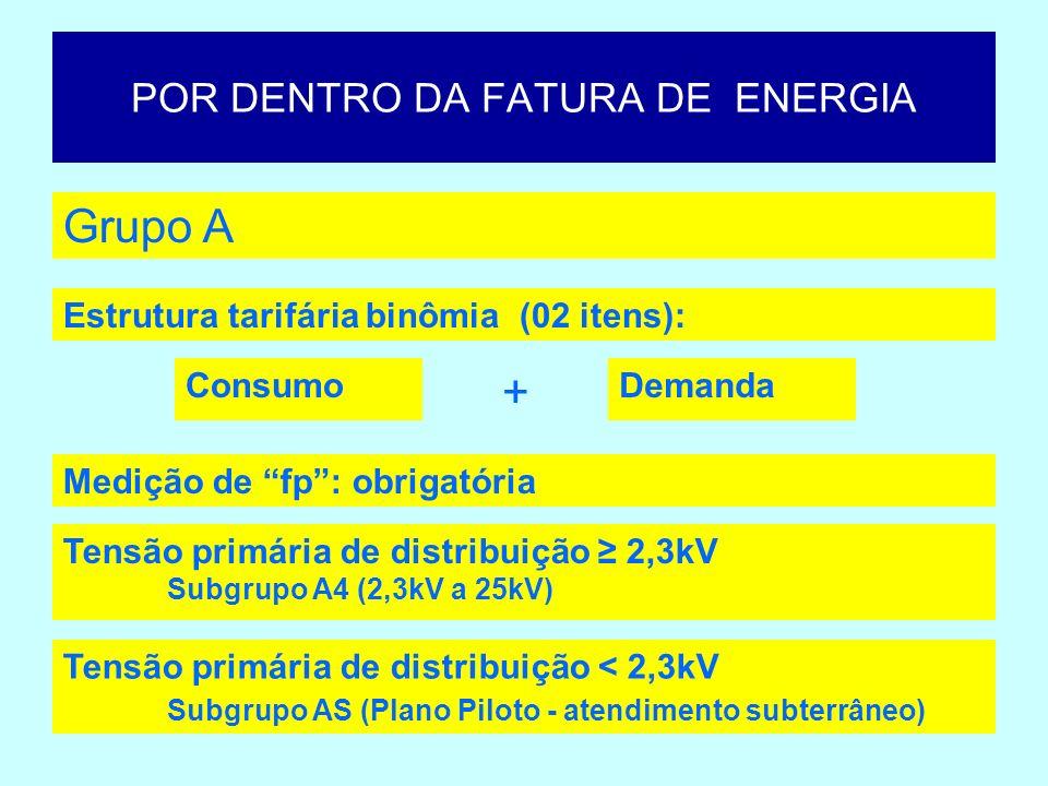 POR DENTRO DA FATURA DE ENERGIA Grupo A I) Potência Instalada > 75kW II) Demanda contratada 2.500kW Subgrupo AS – pré-requisitos: I) Consumo mensal 30.000kWh II) Demanda contratada 150 kW Subgrupo A4 – pré-requisitos: